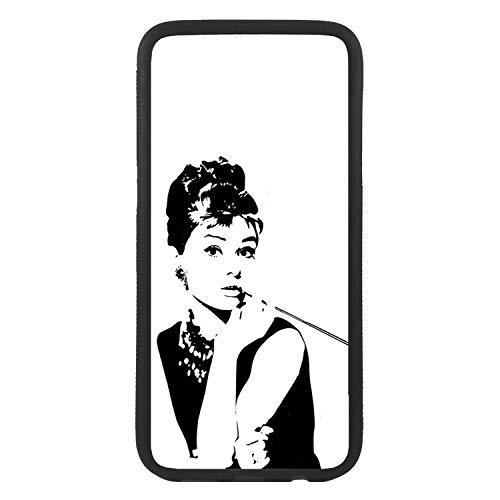 afrostore Funda Carcasa de móvil para Apple iPhone 7 Plus Audrey Hepburn TPU Borde Negro