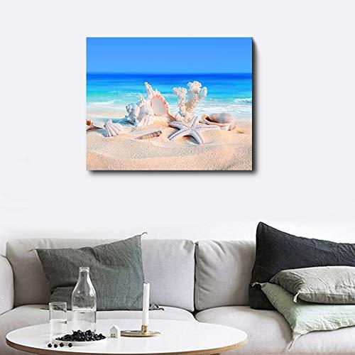 Wall Art moderne print canvas schilderij aan zee strand schelp zeester poster woonkamer Scandinavische stijl huisdecoratie muur foto 90x72cm geen