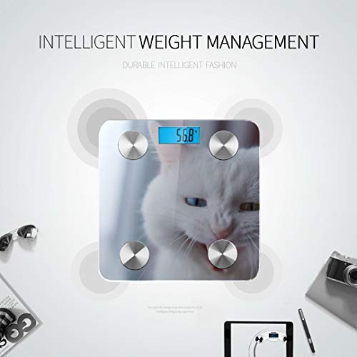 Cat with 2 Different-Colored Eyes Bluetooth Scales Best Weight Scale Body Fat Measurement Tracks 8 Key Compositions Analyzer Sync with Fitness Apps 400 Lbs