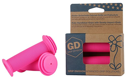GD Grip Division® Kinder-Fahrrad-Griffe mit Sicherheits-Prallschutz | Phthalate frei | neon-pink
