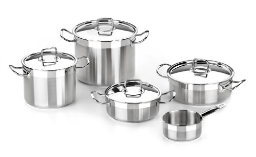 BRA Profesional - Menaje de 5 piezas, acero inoxidable 18/10, apta para todo tipo de cocinas incluídas de inducción, 20-24-14 cm
