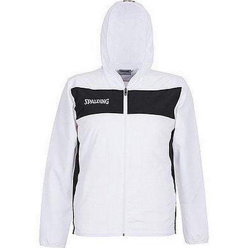 Spalding Evolution II Woven Jacket with Hood Chaqueta con Capucha De Baloncesto, Hombre, Blanco/Negro, XXXXL