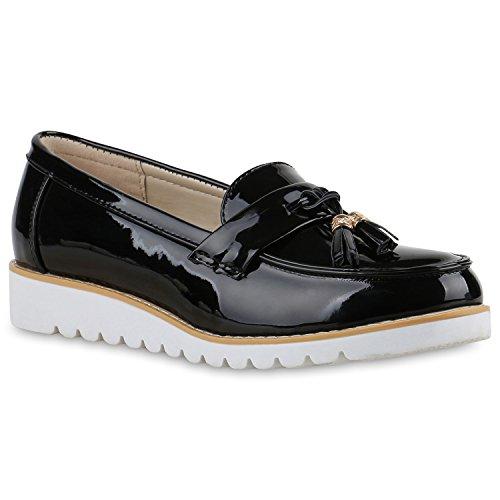 stiefelparadies Damen Schuhe 136591 Slipper Black Lack 38 Flandell