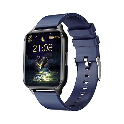Smartwatch Hombre Mujer,1.7 Pulgadas Tactil Completo Reloj Inteligente Contador de Pasos y Calorias,Pulsometro,IP68 Impermeable Reloj Actividad per iPhone,iOS,Android (Azul)
