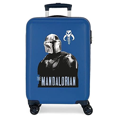 Star Wars The Mandalorian Maleta de Cabina Azul 38x55x20 cms Rígida ABS Cierre de combinación Lateral 34L 2 kgs 4 Ruedas Dobles Equipaje de Mano