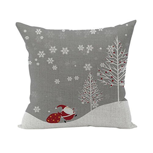 Nunubee Cotton Linen Home Square Cushion Cover Decorative Throw Pillow Case Sofa Pillow Snowman 2