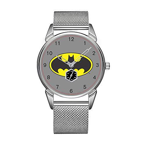 Montre-bracelet pour homme en acier inoxydable argenté étanche avec logo Batman