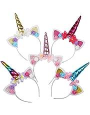 WENTS Haarband, eenhoorn, hoofdband met eenhoorn, haarsieraad, hoofdtooi, hoofdband met oren, voor Pasen, verjaardag, feestje, verpakking van 5 stuks
