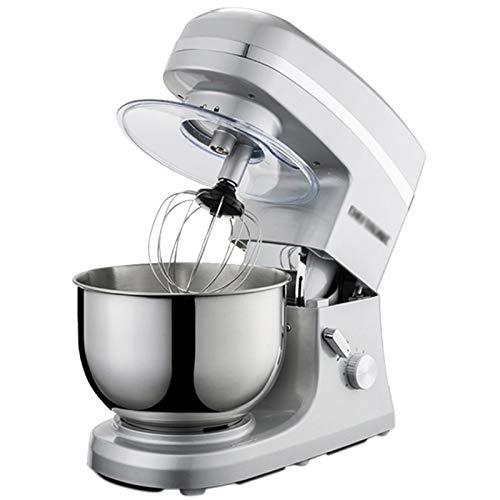 GAOLIGUO Amasadora 5L, 1000W 6 Velocidades Robot Cocina Multifuncional Mezclador de Alimentos Incluye 3 Accesorios de batido Amasadora para Repostería,Silver