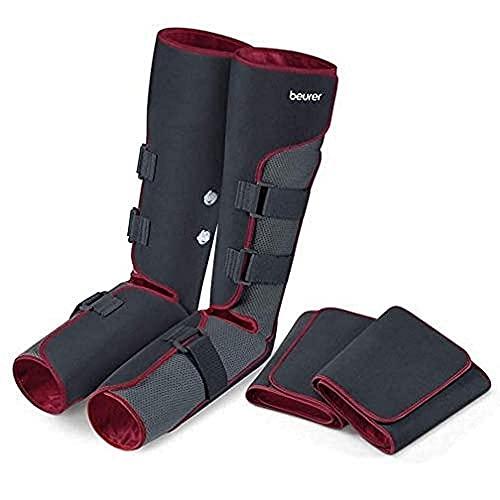 Beurer FM150 Pro Botas de Presoterapia de uso doméstico, masaje de presión, 4 manguitos, botón seguridad apagado automático, bolsa para guardar, negro rojo
