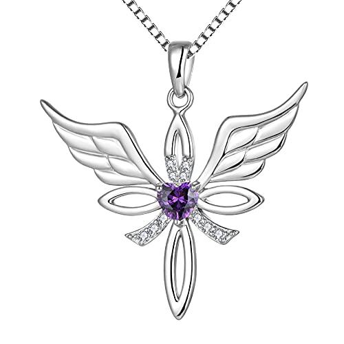 starchenie de alas de ángel Collar Crucifijo Cruz Colgante de Plata de ley 925 para mujer