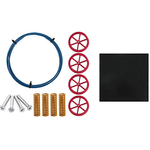 RETYLY For Ender 3 3Pro Platform Tempered Glass and 1M Capricorn Bowden Tubing, 4 Hot Bed Die Springs & 4 M4X35 Screws Bundle