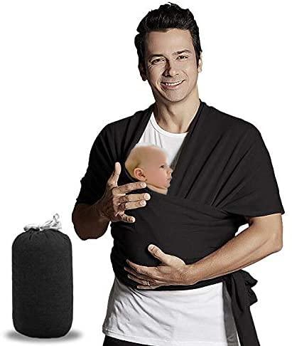 Bizcasa Echarpe de Portage Bebe, Porte-bébé Wrap, echarpe Multifonctionnel Elastique Porte Bébé Confort Baby Wrap Carrier Echarpe pour Bébé et Nouveau-nés Jusqu'à 15 kg