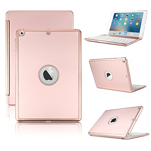 KVAGO Teclado Funda para Nuevo iPad 2018/2017 9.7, Smart Hard Shell Folio Cover con 7 Colores Bluetooth Retroiluminación Keyboard y Auto Sleep/Wake Function para Nuevo iPad 9.7 2018/2017, Rosa Oro