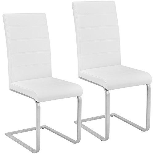 TecTake Esszimmerstühle Schwingstuhl Set | Kunstleder - Diverse Farben - (2er Set weiß | Nr. 402550)