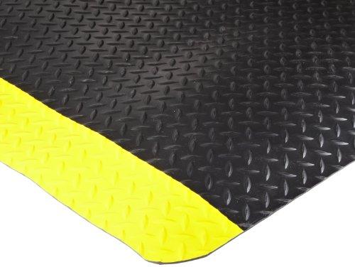 Durable Corporation Vinyl Heavy Duty Diamond-Dek Sponge Industrial Anti-Fatigue Floor Mat, 3' x 5', Black with Yellow Border