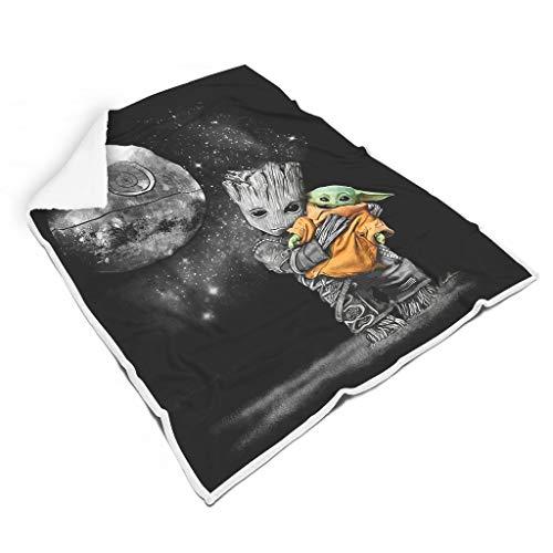 WJunglezhuang Baby Groot knuffelen Yoda Zachte Gezellige Lichtgewicht Print Deken Gooi voor Sofa Stoel Bed Office