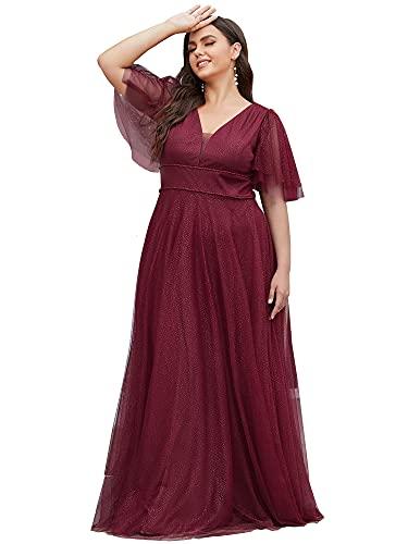 Ever-Pretty 0278 - Abito da sera da donna, lungo, taglia grande, scollo a V, maniche corte, bordeaux, 52