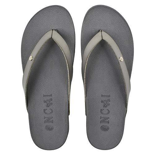 ONCAI Chanclas Mujer Verano Playa Piscina Sandalias Piel Ultraligera Flip Flop Apoyo del Arco Comodas Antideslizante Chancletas Caminar Goma Suela Planas Ortopedicas Zapatos