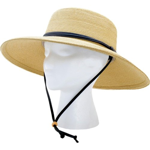 Sloggers Women's  Wide Brim Braided Sun Hat with Wind Lanyard - Light Brown - UPF 50+  Maximum Sun Protection, Style 442LB01