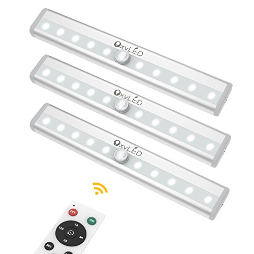 Closet Lights with Remote Control, OxyLED 10-LED Battery Operated Night Lights Cordless Under Cabinet Lighting, LED Night Light Bar with Magnetic Strip for Closet, Cabinet, Wardrobe, Hallway