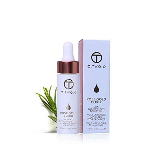 Demino O.Two.O 24k Rose Gold Elixir Lip Primer Essence,High Skin Make Up Essential Oil Moisturizing Face Oil for All Skin Types
