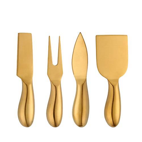 Juego de 4 cuchillos de desierto de queso de acero inoxidable 18/10, cuchillo de mantequilla Baikai Gold para desayuno, cortador de sándwich... (juego de cuchillos de queso-dorado)