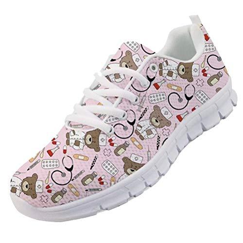 chaqlin Nette Krankenschwester Schuhe Rosa Frauen Herren Sneaker Cartoon Bär Doktor Muster Lace Up Sportschuhe Atmungsaktive Laufschuhe Für Damen Mädchen Geschenke Eu38