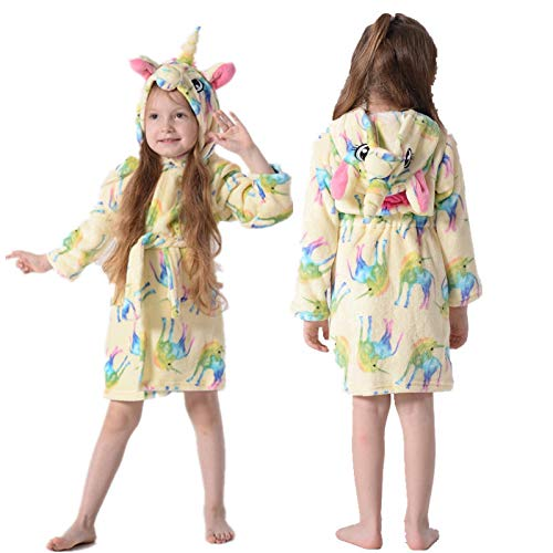 LEYUANA Bata de baño con Capucha arcoíris Estrella para niños, para niños niñas Pijamas camisón Ropa de Dormir para niños 4T Yellowunicorn