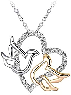 Swarovski Elements Crystal 18K Gold Plated 925 Sterling Silver Pigeon Heart Pendant Necklace for Women Ladies Girls Gift P...