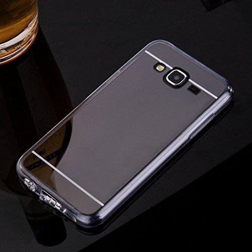 Sycode Coque Galaxy J5 2015,Galaxy J5 2015 Silicone Housse,Ultra Mince Doux Coque en Effet Miroir pour Samsung Galaxy J5 2015-Noir