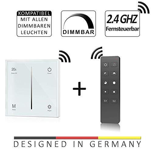 Dimmer-Panel mit Funk für LED bis 240W, Touch-Schalter 230V universal für Phasenabschnitt & -anschnitt, Wandschalter-Controller (Touch-Dimmer + Fernbedienung)
