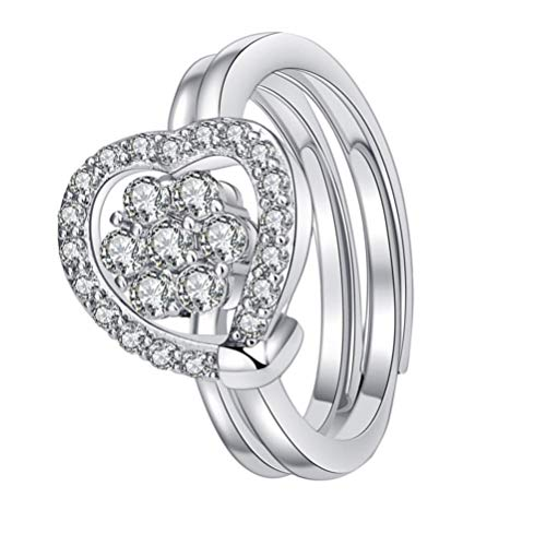 Holibanna Anillo de Diamantes de Imitación en Forma de Corazón Anillo de Dedo Dos en Anillo Abierto de Plata Regalo de San Valentín para Mujeres Niñas (Plata)