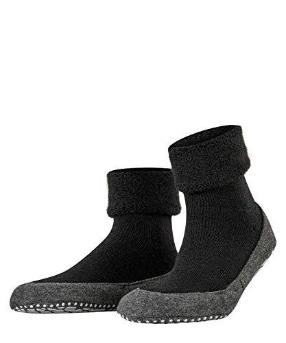 FALKE Haussocken Cosyshoe Schurwolle Herren schwarz grau viele weitere Farben verstärkte Hüttensocken ohne Muster atmungsaktiv einfarbig Noppendruck rutschhemmend auf der Sohle 1 Paar