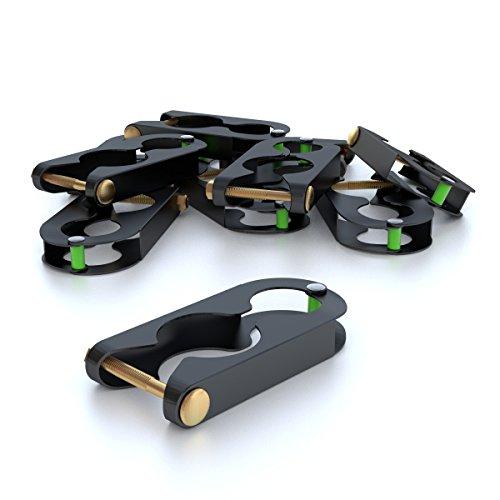 Ampel 24 - Lot de 12 Pinces de Fixation Deluxe pour piquets de Trampolines/Pinces pour poteaux jusqu'à 39 mm de diamètre/Noires