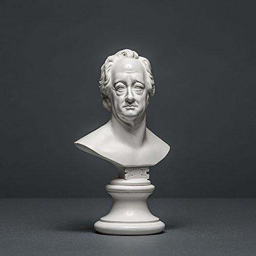 Johann Wolfgang von Goethe Skulptur aus hochwertigem Zellan, echte Handarbeit Made in Germany, Büste in weiß, 17cm