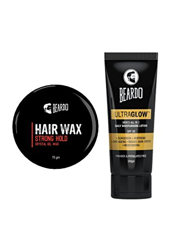 Beardo Hair Wax - Strong Hold (75 gm) And Beardo Ultraglow Lotion (100 gm) Combo