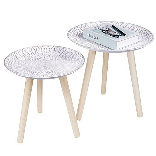 Juego de 2 mesas auxiliares redondas, pequeñas, tres patas redondas, mesa de sofá de madera, mesa nido para salón, dormitorio, balcón, color blanco shabby - 35 cm/40 cm