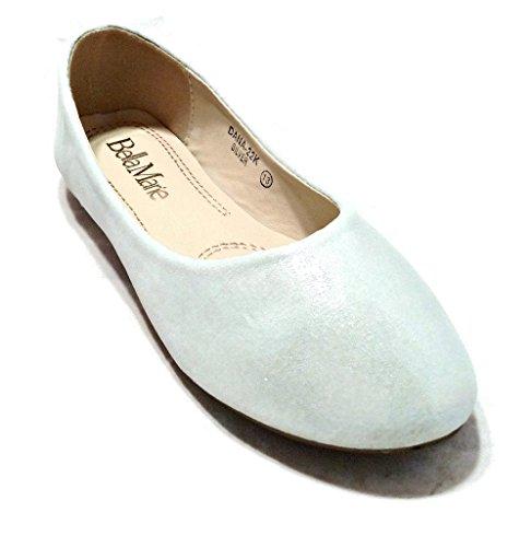 Bella Marie Kids Dress Ballet Flat Slip On Comfortable Ballerina Silver Synthetic Glitter Sparkle Shoes 2 US Little Kid