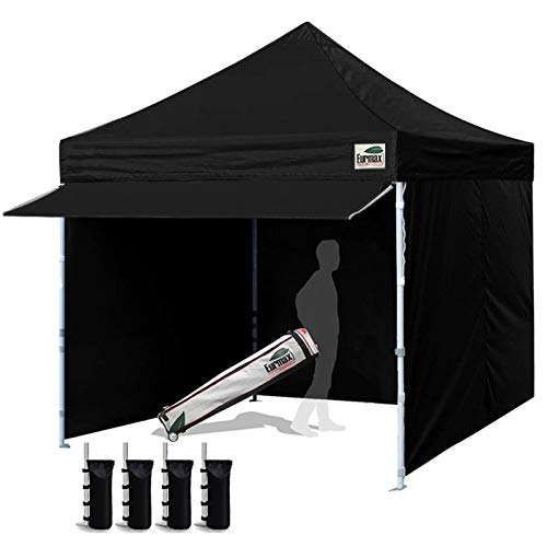 Eurmax 10 x 10 Pop Commercial Tent Outdoor Party Removable Zippered Sidewalls and Roller Bonus 4 Canopy Sand Bags & 24 Squre Ft Extended Awning