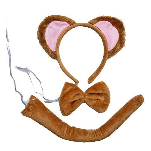 Kirei Sui Kids Gold Monkey Headband Bowtie Tail 3pcs Costume