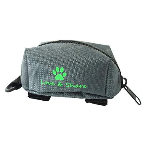 B Blesiya Hund Kotbeutelspender Kotbeutelhalter mit Klettverschluss für Hundeleine - Grau