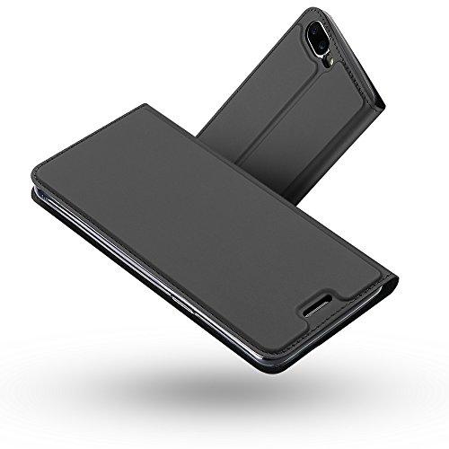 Radoo OnePlus 5 Hülle, Premium PU Leder Handyhülle Brieftasche-stil Magnetisch Folio Flip Klapphülle Etui Brieftasche Hülle [Karte Halterung] Schutzhülle Tasche Hülle Cover für OnePlus 5 (Schwarz grau)