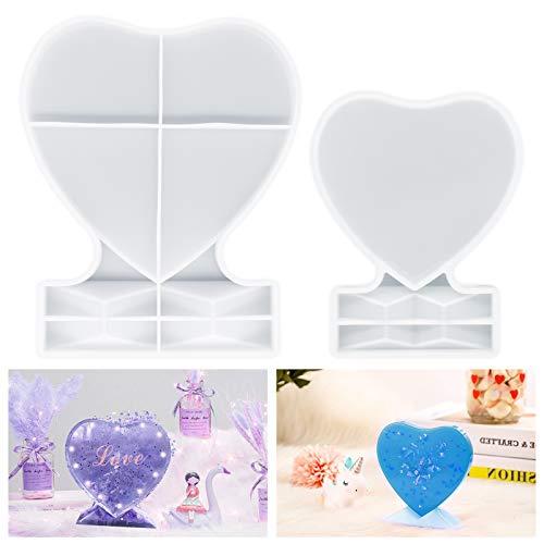 Stampi in resina per cornici fotografiche, HONEYWHALE 2PCS cuore Silicone stampi resina epossidica foto stampo per personalizzato Photo Frame Wedding compleanno decorazione resina mestiere fai da te