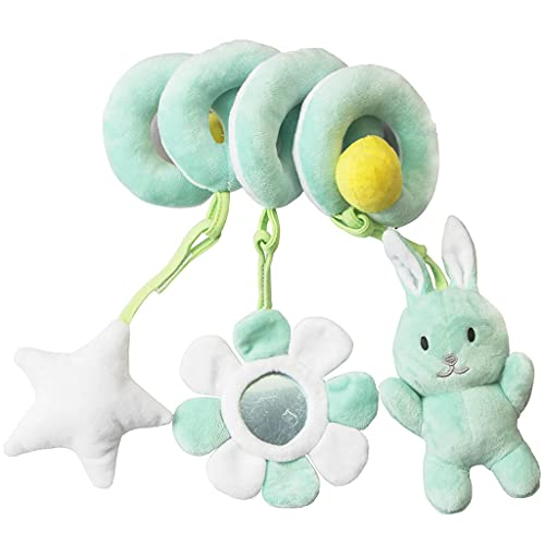 Duyifan Baby Crib Toy, Baby Pram Crib Activity Spiral Plush Toys, Infant Baby Stroller Toy Car Seat Hanging Toys Educational Plush Toys, Suitable for Babies Over 0 Years Old Crib Hanging (Green)