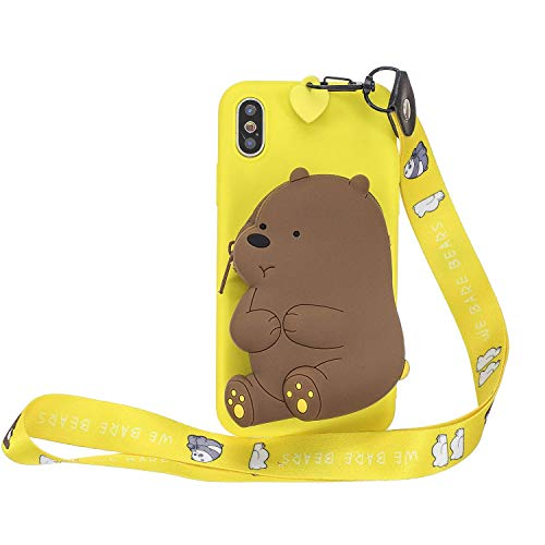 LAXIN Cute 3D Bear Case for iPhone Xs Max,Ultra Slim Fit Soft Silicone Gel Bumper Shockproof Protective Cartoon Phone Case with Lovely Animal Pattern for Apple iPhone Xs Max - Yellow
