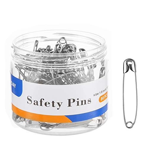 A+DAY Safety Pins 1.8 Inch (46mm), Size 3, 80-Count, Nickel Finish