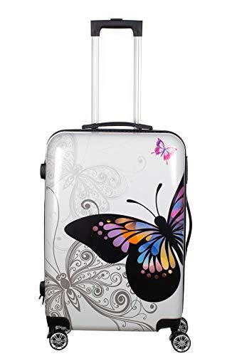 Birendy Reisekoffer Polycarbonat Hartschalen Hardcase Trolley mit Zahlenschloss Koffer Kofferset 4 Rollen einfacher Transport (A10-Schmetterling weiß, Koffer...