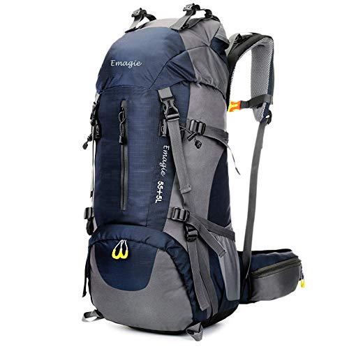 EMAGIE Mochila Resistente al Agua 60L (55+5) para Senderismo Montañismo Campamento Acampada Viaje Resistente al Agua de Lluvia para Deportes al Aire Libre Pesca Ciclismo Esquí (Azul, 60L)