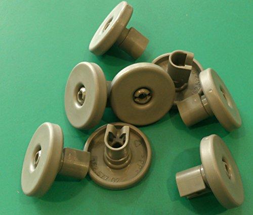 Kit ruote cesto inferiore lavastoviglie REX 8 pezzi grigie modello TT80E , TT08E , TT09E , TT8451 , TT800 , TT790 , TQ000XE , TP600B , RTI925TX , RTI8G , RTI720AP , RSF66040 , RSF63020
